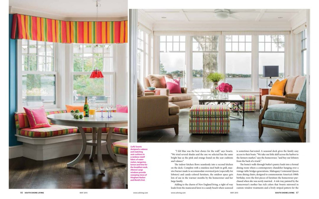 "Ninth and tenth pages of South Shore Living Magazine Article ""All Things Bright and Beautiful"" featuring interior design by Boston Interior Designer Elizabeth Swartz Interiors."