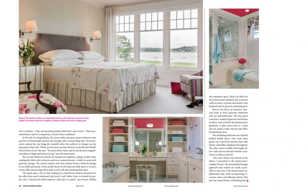 "Eleventh and twelfth pages of South Shore Living Magazine Article ""All Things Bright and Beautiful"" featuring interior design by Boston Interior Designer Elizabeth Swartz Interiors."