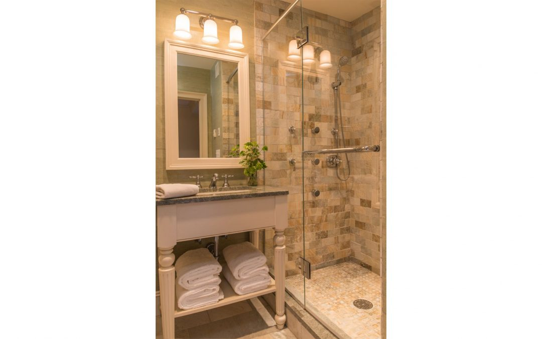 The new master bath in this Boston brownstone designed by Elizabeth Swartz Interiors.