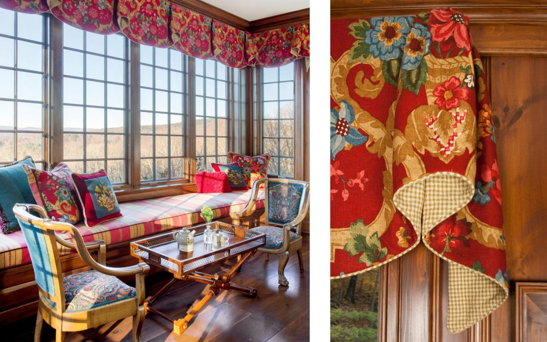Custom window treatments by Boston Interior Designer Elizabeth Swartz Interiors perfectly frame the expansive view of the Green Mountains.