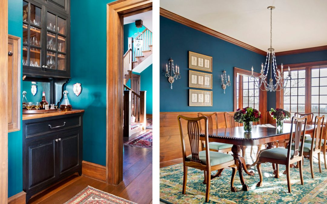The dining room of this newly constructed Vermont farmhouse by Boston Interior Designer Elizabeth Swartz Interiors combines contemporary design elements with traditional architectural details, rich colors and local materials.