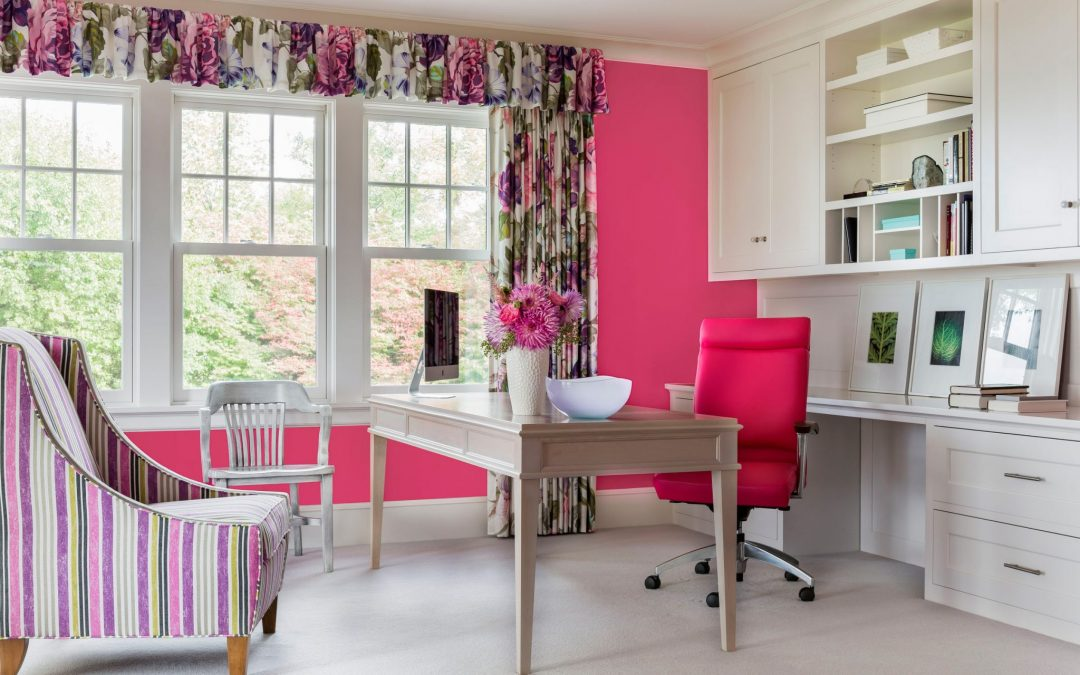 Home office designed by Boston Interior Designer Elizabeth Swartz Interiors in this contemporary coastal home. The interior combines bold contemporary fabrics, sophisticated finishes and rich colors anchored by traditional architectural details.