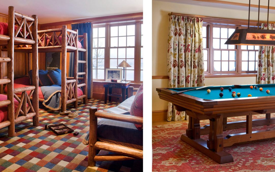 This White Mountain retreat designed by Boston Interior Designer Elizabeth Swartz Interiors features plenty of room for guests. In addition to multiple bedrooms, it has a bunk room for kids and a game room as well.