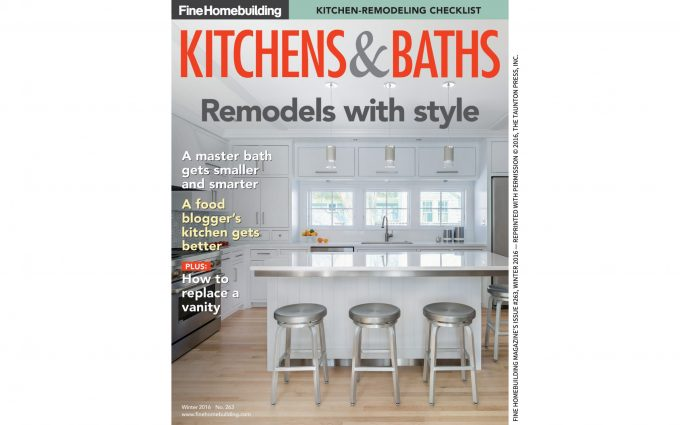 A kitchen remodel project by Boston interior designer Elizabeth Swartz Interiors is featured in Fine Home Building.