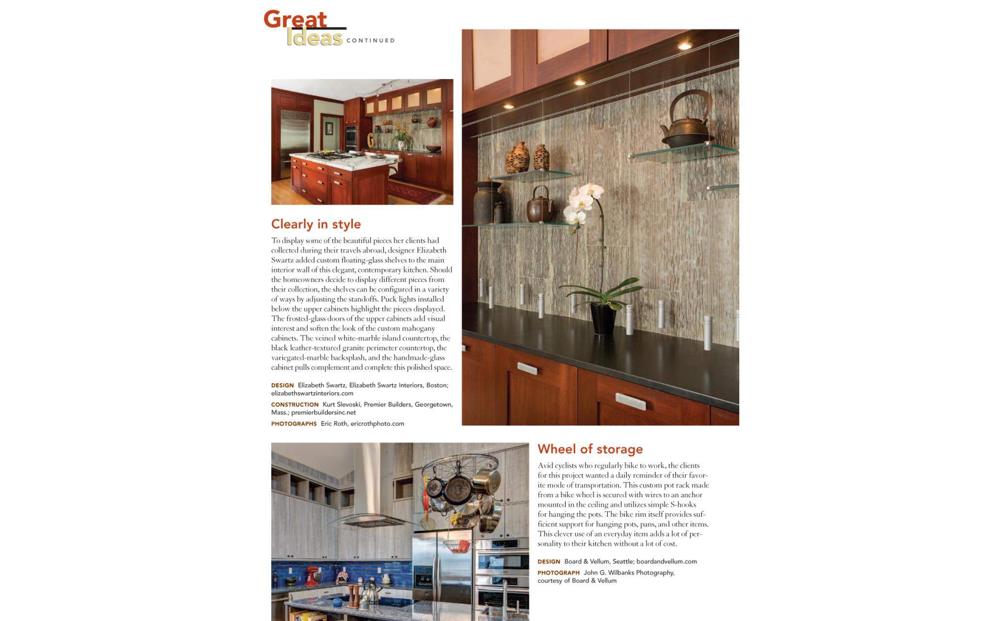 Fine Homebuilding Kitchens & Baths article featuring a kitchen design by Boston Interior Designer Elizabeth Swartz Interiors.