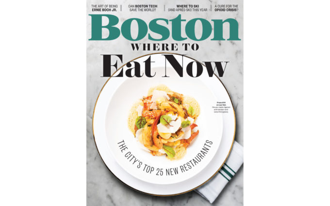 Boston Magazine November 2017 issue featuring a design by Boston Interior Designer, Elizabeth Swartz Interiors.