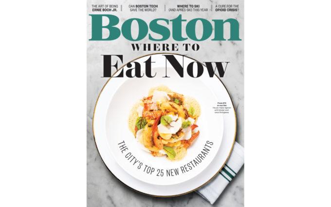 Boston Magazine November 2017 issue featuring a design by Boston Interior Designer, Elizabeth Swartz Interiors.